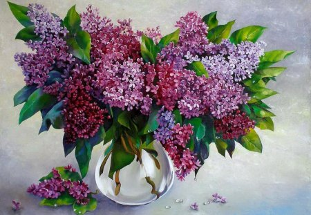 Fresh lilac - flowers, spring, beautiful, colorful, freshness, painting, pretty, lovely, vase, fresh, lilac, nice, still life, fragrance, scent, bouquet