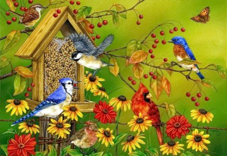 Spring birds - flowers, song, spring, beautiful, pretty, friends, blossoms, sing, nice, house, daisies, summer, colorful, blooming, lovely, branches, birds, leaves, home, nature, family