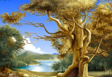 Big tree - landscape, painting, oil, nature, tree