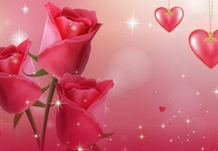 Roses Most Beautiful - rose, flowers, sparkle, spring, glow, summer, fleurs, Valentines Day, pink, hearts, stars, roses