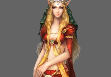 Elf girl - girl, abstract, crown, art, fantasy