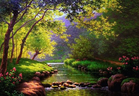 Calm forest river - serenity, lake, painting, glow, sun, forest, calm, quiet, sunny, calmness, flowers, lakeshore, nice, summer, nature, trees, tranquil, reflection, greenery, beautiful, lovely, rays, river, spring, stones, pretty, riverbank, shore