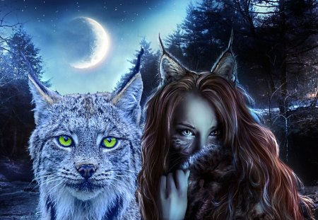 Lynxmaiden - fantasy, lynx, maid, night