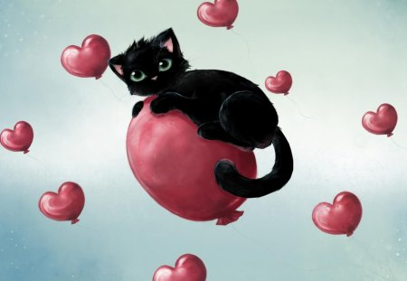Happy Valentines Day Kitten - Valentines, Happy, cute, balloon, Love, hearts, Day, Kitten