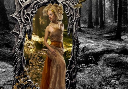 Step by Step - girl, mirror, forest, fantasy