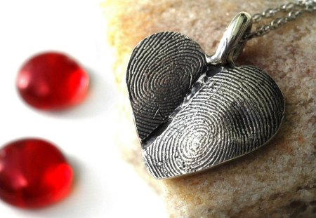 Silver heart - precious, silver, heart, valentine, jewelry, love, red, stones, day
