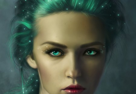 Woodland Elf - female, blue eyes, elf, blue hair, fantasy