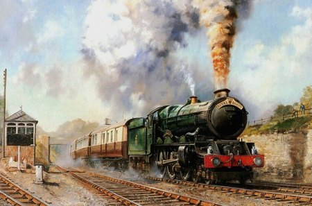 Steam Train - paint, steam, green, train