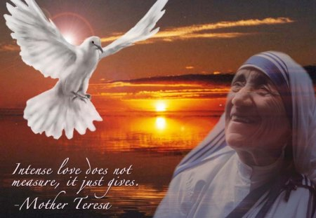 Mother Teresa - dove, giving, peace, Mother Teresa, humble, love, humanitarian