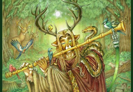 Cernunnos - wood, gallic, pagan, north, cross, wild, elves, forest, viking, celts, celtic, paganism, myth, nordic, barbarian, celtic cross, nature, Cernunnos