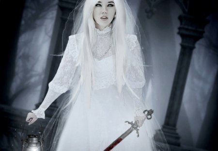 Please Forgive Me - knife, lady, blood, white, fantasy