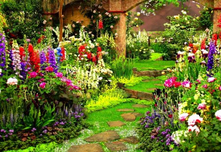 Flower Garden3D and CGAbstract Background Wallpapers on