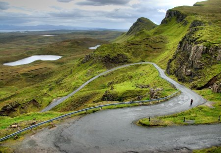 winding road in scotland hills - man, road, grass, hills, lakes