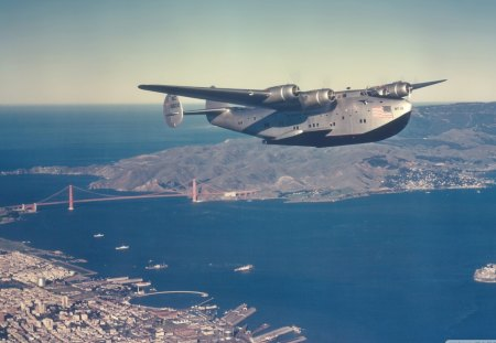 boeing 314 clipper sea plane over frisco - sea plane, bridge, bay, military, city
