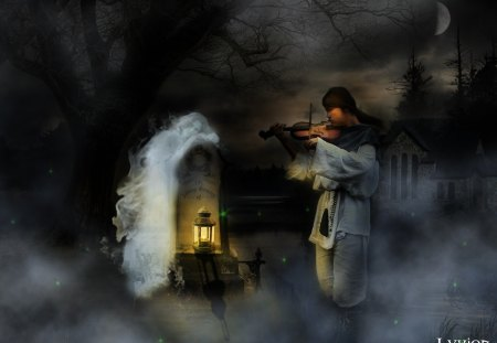 Shepherd and the Maiden Ghost - shepherd, ghost, maiden, fantasy, night