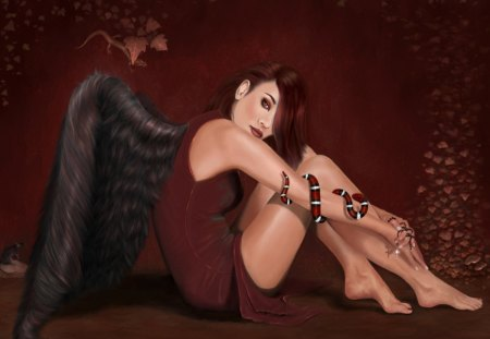 Fallen Angel - snake, wings, leaves, lizard, cross, fallen, rat, rosary, angel