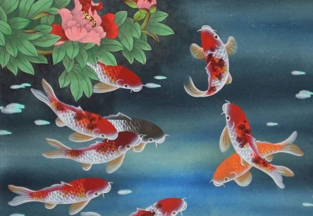 Koi fish fish animals background wallpapers on desktop for Koi fish background