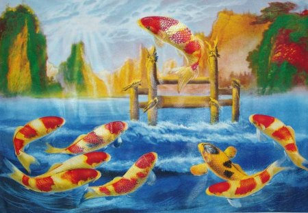 Koi Leap The Dragon 39 S Gate Fish Animals Background