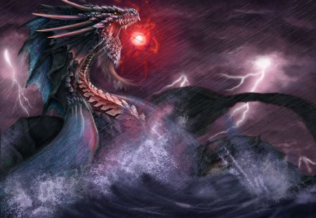 Sea Dragon - dark, sea, fantasy, dragon