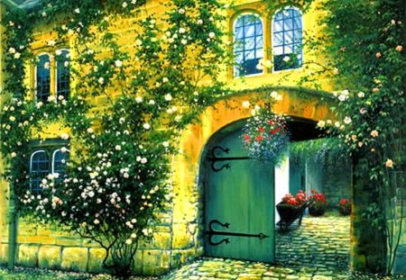 house covered with flowers - other & abstract background