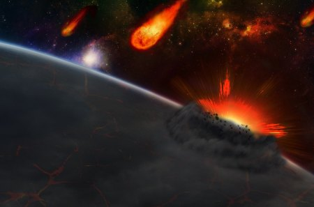 Meteor Shower - Fire, Meteor, Explosion, Earth