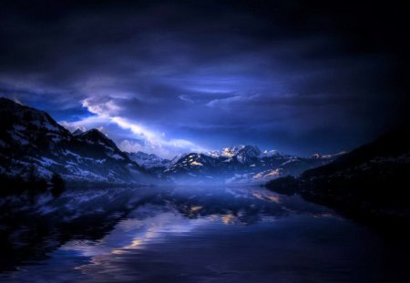Moody Blue Night Lakes Nature Background Wallpapers On HD Wallpapers Download Free Images Wallpaper [1000image.com]