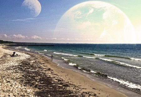 Interstellar vacation - moon, bath, summer, nature, comfortable, sea, beach, sky, water, shore
