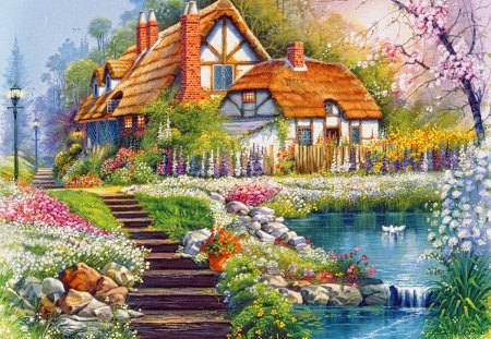 Fall Cabin Paintings Lovely Summer Cottage Other Amp Abstract Background Wallpapers On