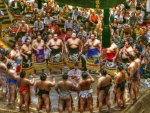 opening ceremonies at a sumo tournament hdr