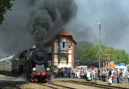 steam train coming into a polish station - tracks, station, train, steam, crowd