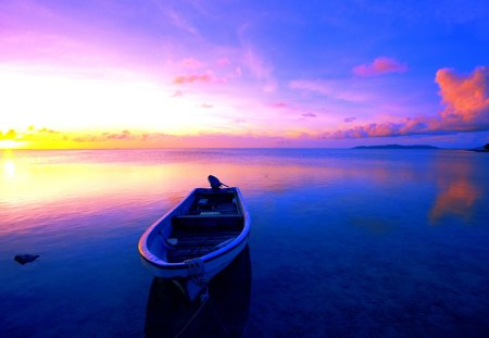 RESTING BOAT - blue, sea, sunset, boat
