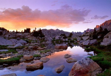rocky stream in mountains in wyoming - sunset, clouds, mountains, streamrocks