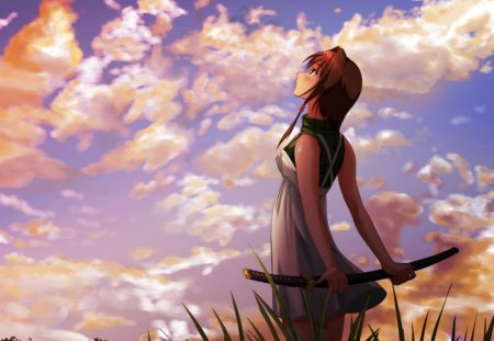 Girl staring up to the sky - girl, sword, beautiful, anime