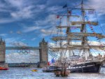 beautiful sail ship near tower bridge in london hdr