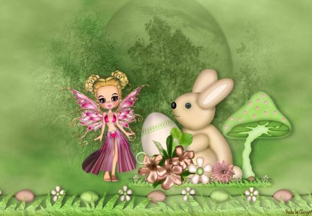 Easter Bunny Meets Fairy - flowers, spring, fairy, bunny, fantasy, easter