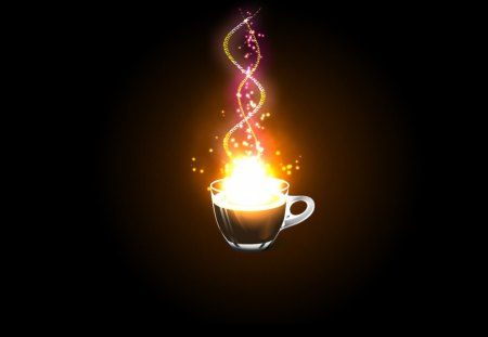 Neon Coffee Cup - cup, black, neon glow, coffee, abstract