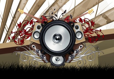 Music Vector - flowers, guitar, silhouette, floral, abstract, music, vector, speakers