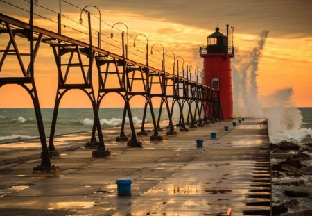 Lighthouse - water, red, bridge, lighthouse