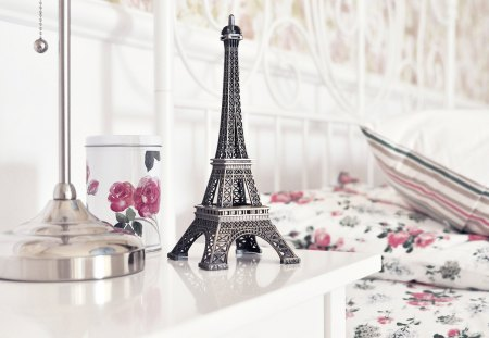 Eiffel Tower - paris, beautiful, pretty, lovely, bed, beauty, room, eiffel tower, photography, bedroom