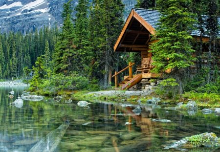 Lake cabin - green, lake, summer, trees, reflection, emerald, shore, cottage, wooden, house, mountain, forest, cabin, nature, greenery