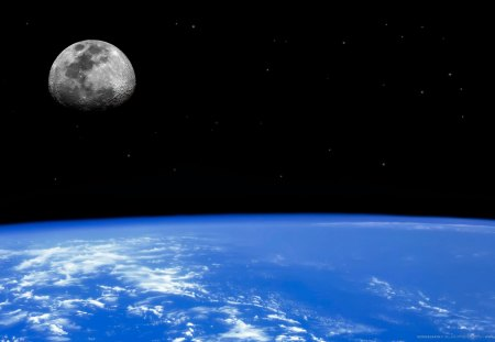Earths Natural Satellite - earth, moon, it looks like a place with no problems, calm, natural satellite