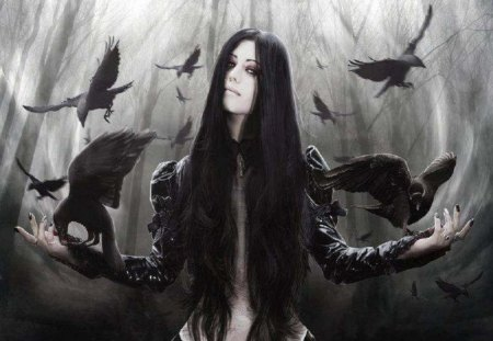 Gemma And Her Ravens - gothic, animals, woman, Abstract, fantasy, ravens