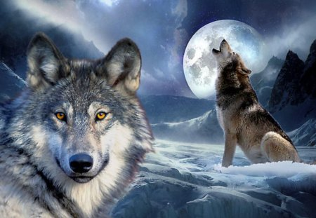 Wolves in Fantasy World - howl, moon, sky, mountains, planet, wolf