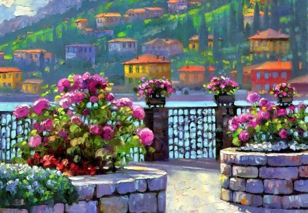 Lake village - flowers, lake, gate, beautiful, pier, river, blue, art, pretty, view, water, nice, mediterranean, mountain, cottages, summer, countryside, freshness, painting, lovely, houses, slope, town, fence, village, nature, sea