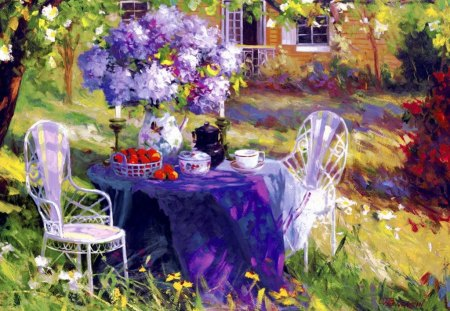 Lilac party - pleasant, morning, spring, beautiful, tea, art, pretty, nice, party, lilac, fruits, house, grass, straqberries, trees, colorful, coffee, painting, lovely, table, home, bouquet, flwoers