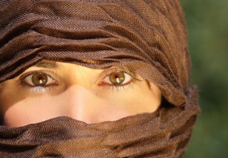 arab girl in hijab - cute eyes, beauty, brown, trees, girl
