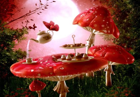 SPRING TEA BREAK - butterfly, cup, nature, table, mushrooms, teapot