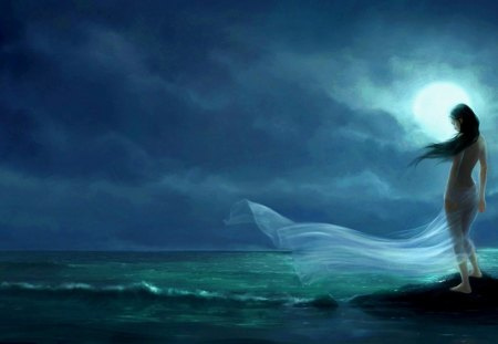 The Solace of Water - fantasy, ocen, women, moon