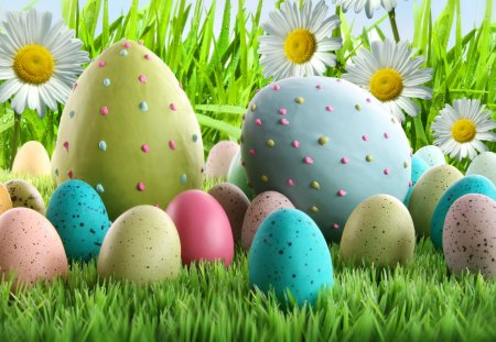 Easter Eggs and Daisies - spring, daisies, eggs, easter eggs, grass, Easter, drops