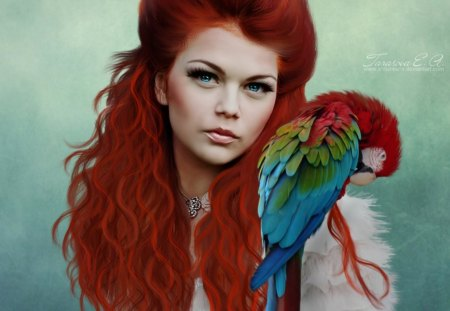 Red Devil - bird, lady, devil, red, macaw, fantasy